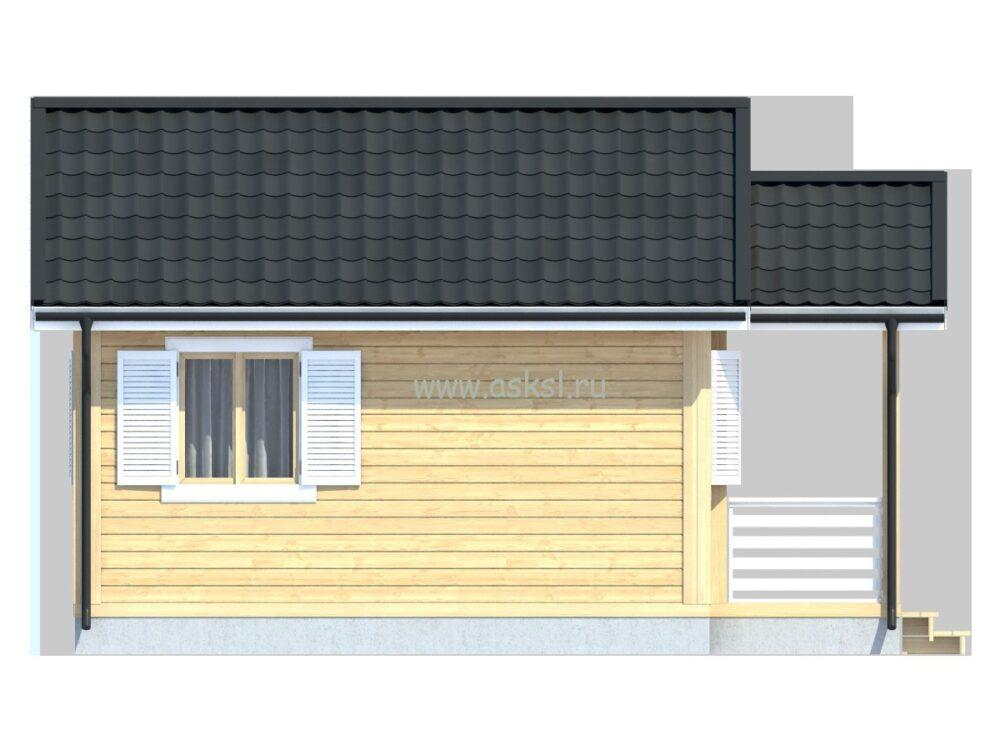 Каркасный дом ОДК 5х6 Т боковой фасад