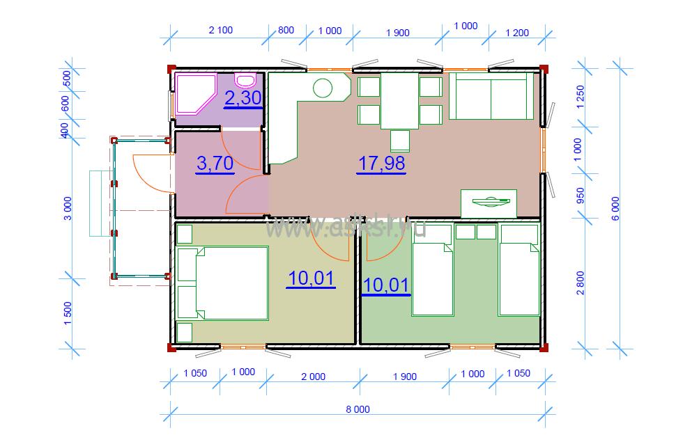 Каркасный дом ОДК 6х8 К план первого этажа
