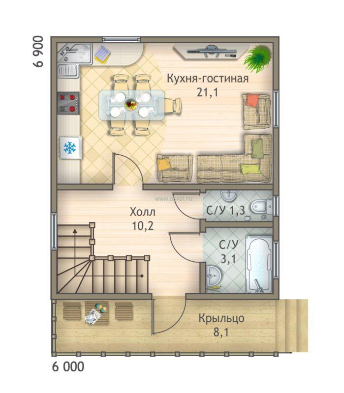 Планкаркасно-щитового дома ДД 6х7 1,5-Т