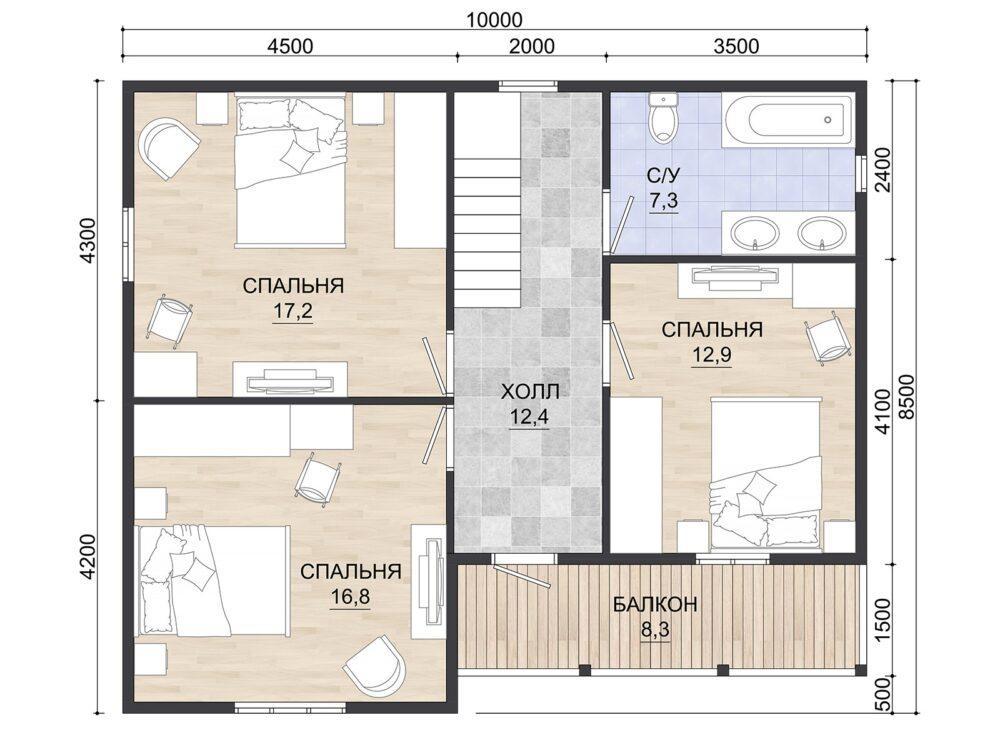 Фото плана 1 этажа каркасного дома