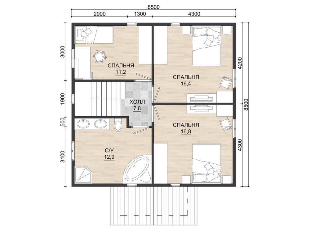 Фото плана 2 этажа каркасного дома 8,5х8,5