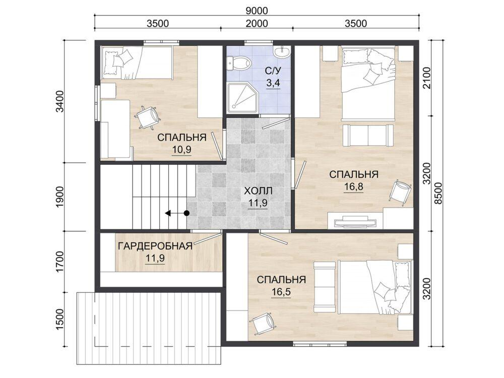 Фото плана 1 этажа каркасного дома 8,5х9