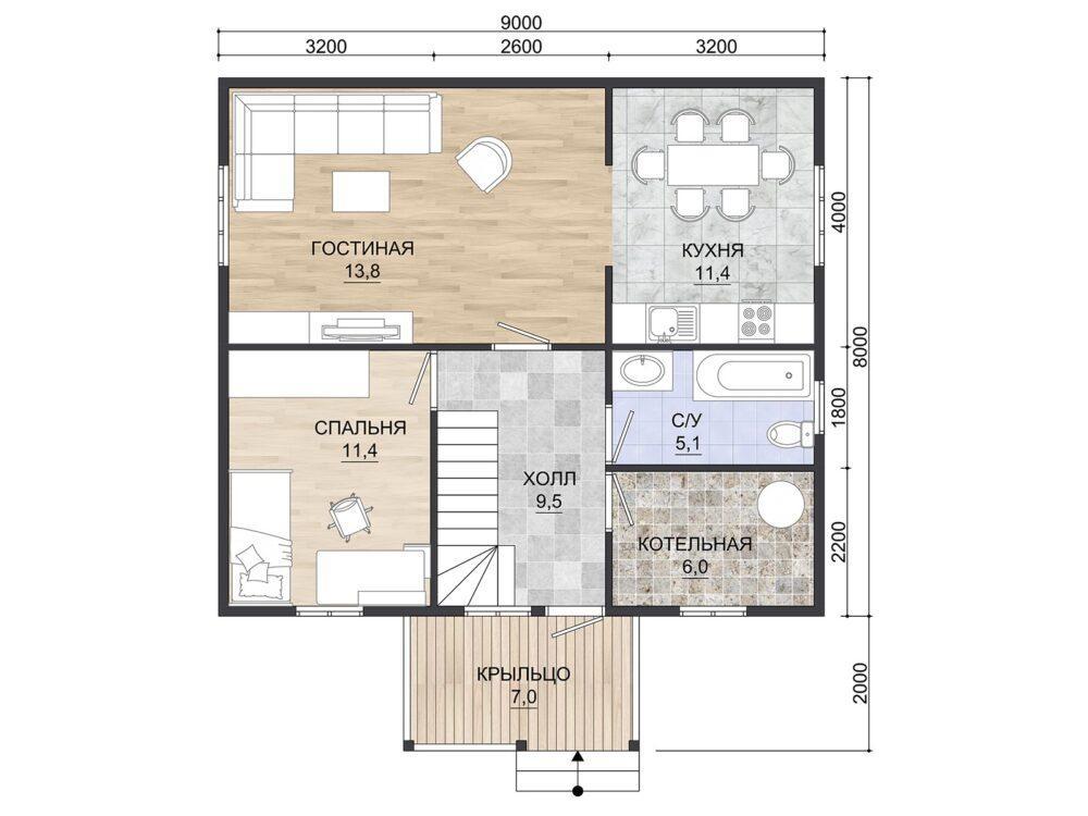 Планировка каркасного дома 8х9