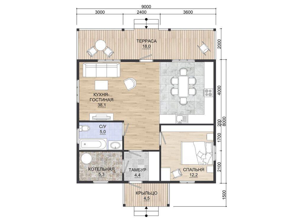 Планировка каркасного одноэтажного дома размером 9х10