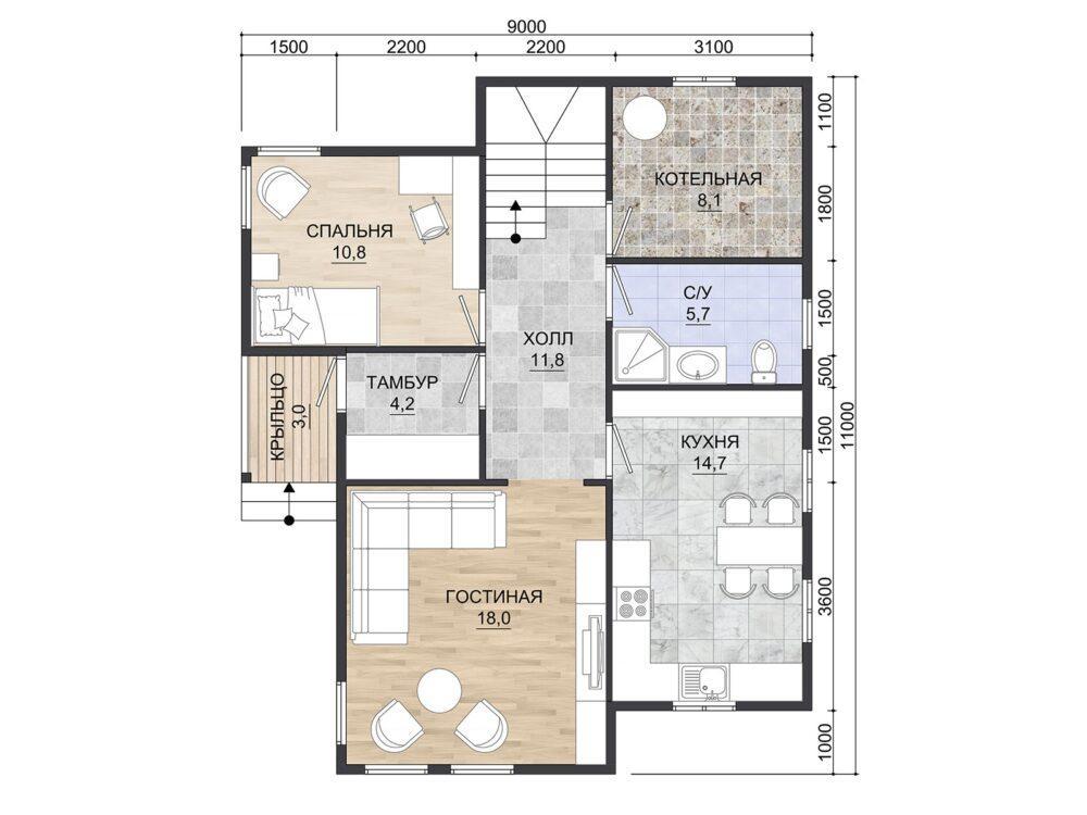 Фото плана 1 этажа каркасного дома 9х11