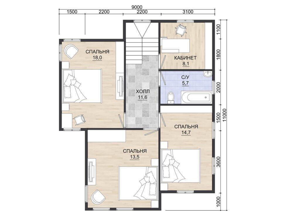 Фото плана 2 этажа каркасного дома 9х11